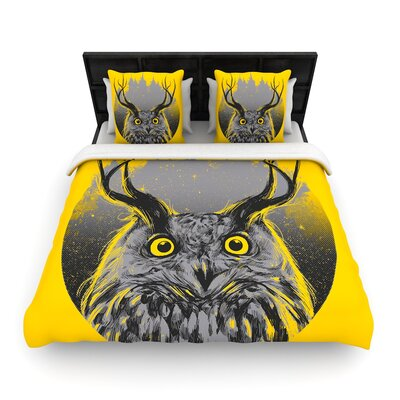 Majesty Owl Woven Duvet Cover Size: King