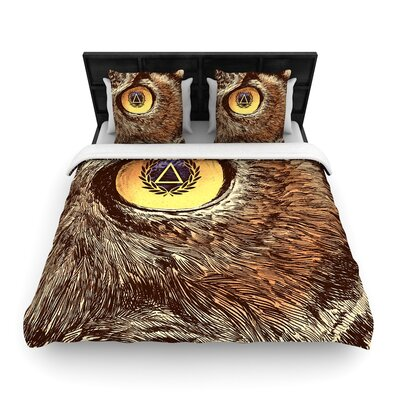 Sharp Eye Owl Woven Duvet Cover Size: Twin