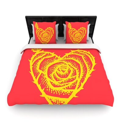 I Love Roses Heart Thorns Woven Duvet Cover Size: King