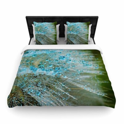 Ginkelmier Blue Rain Dandelion Photography Woven Duvet Cover Size: King