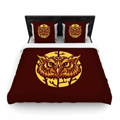 Head Owl Woven Duvet Cover Size: Full/Queen