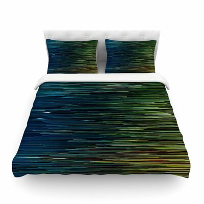 Ginkelmier Planet Pixel  Digital Featherweight Duvet Cover Color: Blue/Yellow, Size: King