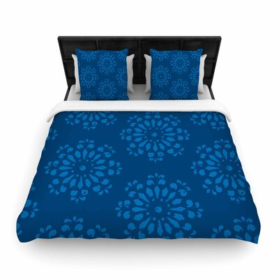 Gukuuki Blue Taylor Damask Woven Duvet Cover Size: King