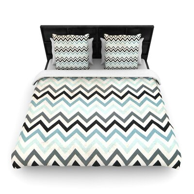 Heidi Jennings Blue Chevron Woven Duvet Cover Size: Twin