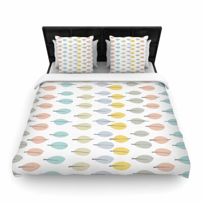 Gukuuki Simple Leaves Woven Duvet Cover Size: King