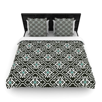 Heidi Jennings Black Blue Geometric Woven Duvet Cover Size: Twin