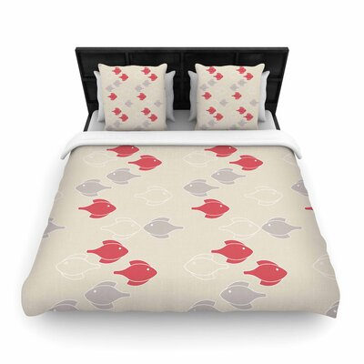 Gukuuki Mayan Fish Woven Duvet Cover Size: King