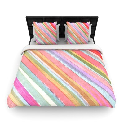 Heidi Jennings Pastel Stripes Woven Duvet Cover Size: Full/Queen