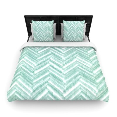 Heidi Jennings Painted Chevron Woven Duvet Cover Size: King
