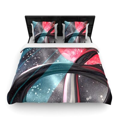Infinite Spray Art Geometric Mars Woven Duvet Cover Size: Full/Queen