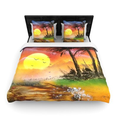 Infinite Spray Art Maui Sunrise Beach Woven Duvet Cover Size: Twin