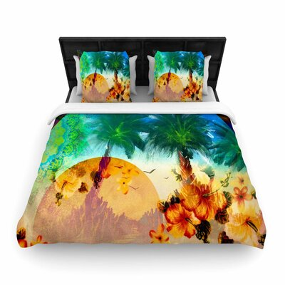 Infinite Spray Art Paradise Patterns Woven Duvet Cover Size: King