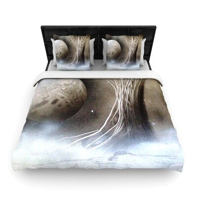 Infinite Spray Art Black White Tree Woven Duvet Cover Size: King