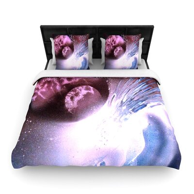 Infinite Spray Art Space Tube Woven Duvet Cover Size: King