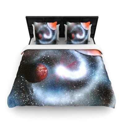 Infinite Spray Art Starburst Galaxy Woven Duvet Cover Size: King