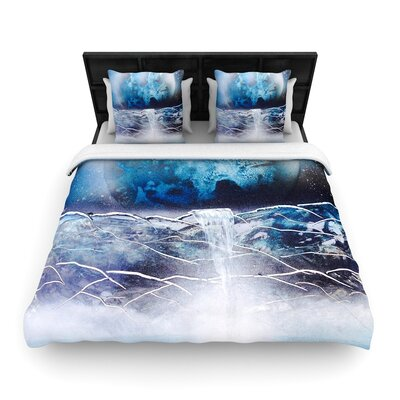 Infinite Spray Art Surreal Falls Planet Woven Duvet Cover Size: King