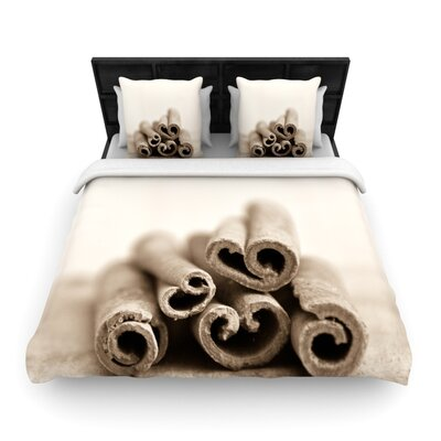 Iris Lehnhardt Cinnamon Woven Duvet Cover Size: Twin, Color: Gray