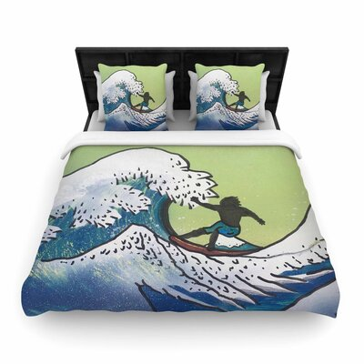 Infinite Spray Art Hokusai Remake Woven Duvet Cover Size: Full/Queen