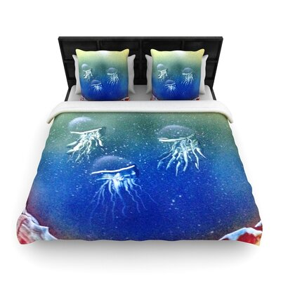 Infinite Spray Art Underwater Aliens Jellyfish Woven Duvet Cover Size: Twin