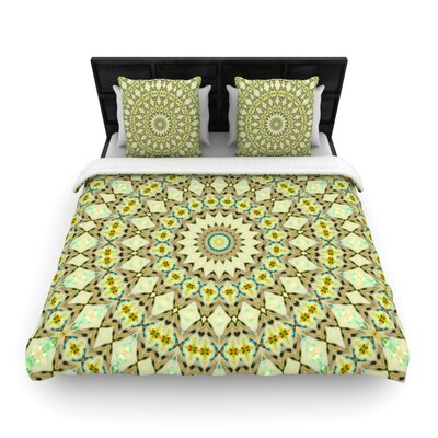 Iris Lehnhardt Kaleidoscope Green Geometric Woven Duvet Cover Size: Full/Queen