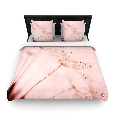 Iris Lehnhardt Droplets Blush Flower Woven Duvet Cover Size: Twin