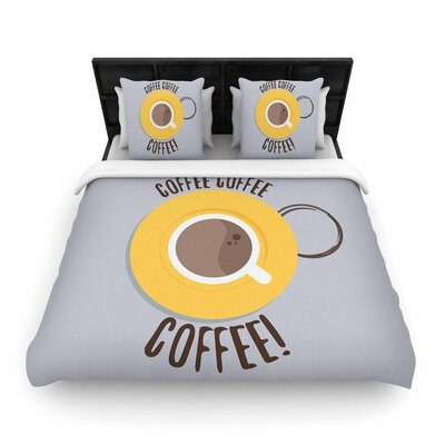 Jackie Rose Coffee! Woven Duvet Cover Size: Full/Queen