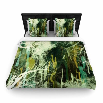 Iris Lehnhardt Tree of Life Woven Duvet Cover Size: Twin, Color: Green