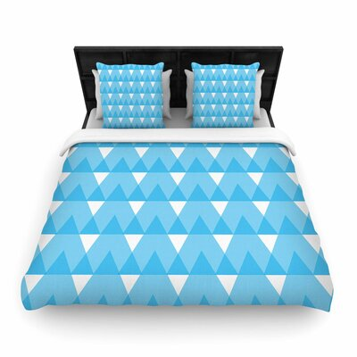 Jackie Rose Cyan Triangles Woven Duvet Cover Size: King