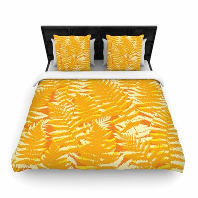 Jacqueline Milton Fun Fern Woven Duvet Cover Color: Orange, Size: Full/Queen