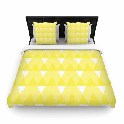 Jackie Rose Yellow Triangles Woven Duvet Cover Size: Full/Queen