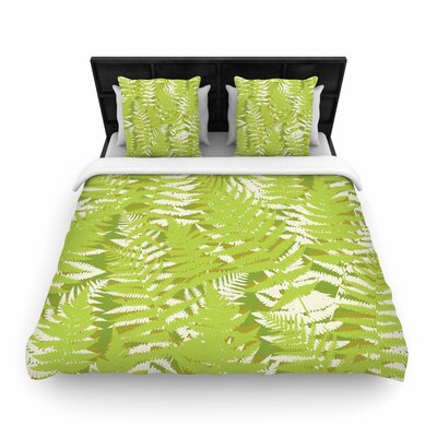 Jacqueline Milton Fun Fern Woven Duvet Cover Size: Twin, Color: Green