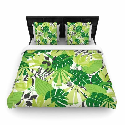 Woven Duvet Cover Color: Green/White