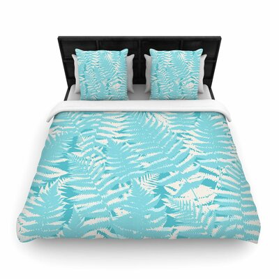 Jacqueline Milton Fun Fern Woven Duvet Cover Size: Full/Queen, Color: Sky Blue