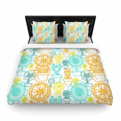 Jane Smith Potted Florals Woven Duvet Cover Size: Full/Queen