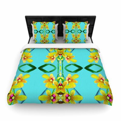 Dawid Roc  Tropical Floral Orchids 3 Floral Woven Duvet Cover Size: Twin