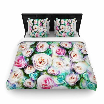 Dawid Roc Bright Rose Floral Abstract Floral Woven Duvet Cover Size: King