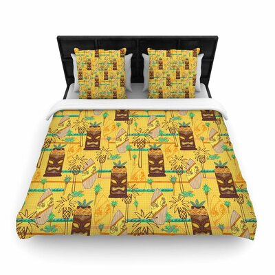 Jane Smith Surfing Tiki Woven Duvet Cover Size: Full/Queen