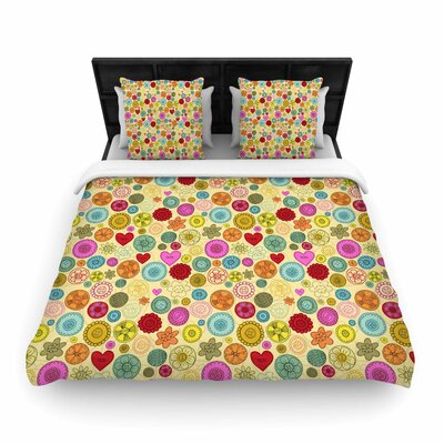 Jane Smith Vintage Buttons Polkadot Woven Duvet Cover Size: Twin