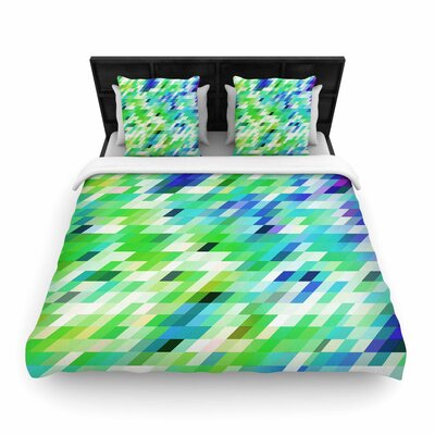 Dawid Roc Colorful Summer Geometric Abstract Woven Duvet Cover