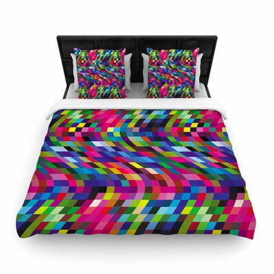 Dawid Roc Colorful Geometric Movement Woven Duvet Cover Color: Pink/Green/Blue, Size: King