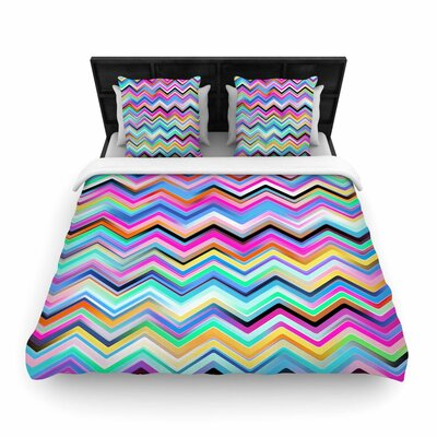 Dawid Roc Colorful Rainbow Chevron Woven Duvet Cover Size: King