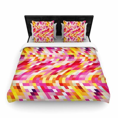 Dawid Roc Colorful Geometric Movement Woven Duvet Cover Size: King, Color: Pink/Yellow/White