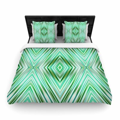 Dawid Roc Green Mint Modern Ethnic Geometric Woven Duvet Cover Size: Full/Queen