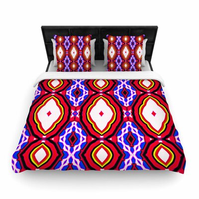 Dawid Roc Inspired By Psychedelic Art  Woven Duvet Cover Color: Red, Size: King