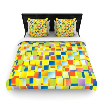 Dawid Roc Multi Color Blocking Geometric Woven Duvet Cover Size: Full/Queen