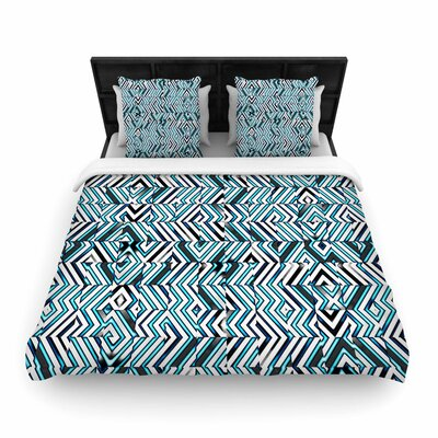 Dawid Roc Maze Geometric Abstract 2 Woven Duvet Cover Size: King