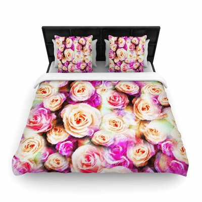 Dawid Roc Sweet Pastel Pink Rose Flowers Floral Woven Duvet Cover Size: Full/Queen