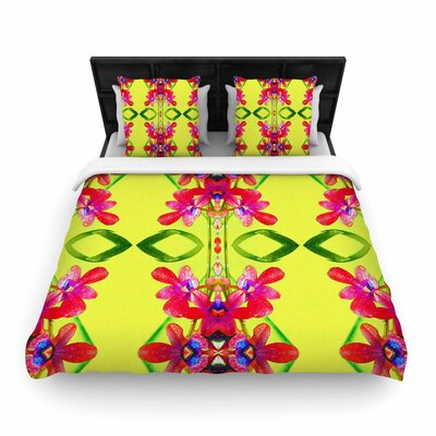 Dawid Roc Tropical Floral Orchids 1 Woven Duvet Cover Size: Full/Queen