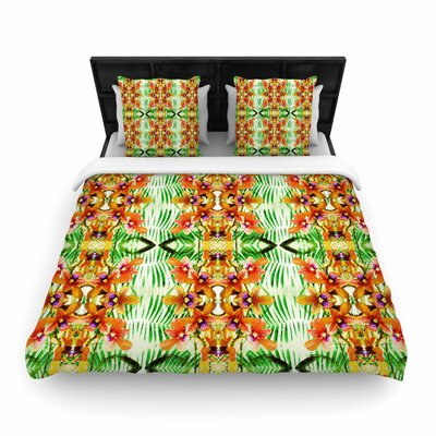 Dawid Roc Tropical Flowers-Palm Leaves Woven Duvet Cover Size: Full/Queen