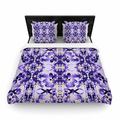 Dawid Roc Tropical Orchid Dark Floral  Woven Duvet Cover Color: Purple/Lavender, Size: Full/Queen